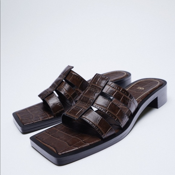 New Zara Cow Leather Square Toe Sandals